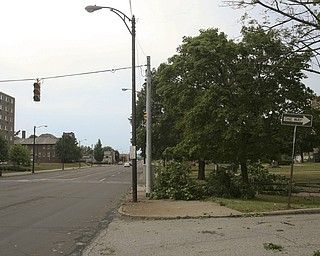JESSICA M. KANALAS | THE VINDICATOR..Severe wind and rain caused damage to trees next to the Southside Academy on Market Street. Several street lights were also out of power causing many intersections to turn into four-way-stops...-30-