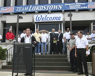 ROBERT  K.  YOSAY  | THE VINDICATOR --..Bob Purcell Plant Mgr. welcomes everyone to the GM Lordstown Complex..The Lordstown Complex is a General Motors automobile factory in Lordstown, Ohio comprising three facilities: Vehicle Assembly, Metal Center, and Paint Shop. The plant opened in 1966. Lordstown currently builds the global Chevrolet Cruze compact car.The plant welcomed over 9000 visitors to view the  Metal Center ( west plant) and the asembly plant on Thursday.--30-..(AP Photo/The Vindicator, Robert K. Yosay)
