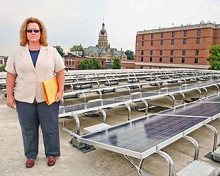 The roof of the Trumbull County Department of Job and Family Services building on North Park Avenue features 234 solar panels that gather the energy from the sun and turn it into electricity. Trish Nuskievicz, assistant Trumbull County planning director, gave members of the Eastgate Regional Council of Governments Environmental Planning Advisory Committee a tour of the installation Thursday.