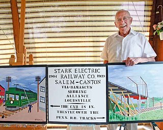 Bob Schuck, 88, wants to preserve memories of Salem's earlier days.  Schuck had an Akron company make a 6-foot-by-18-foot vinyl mural based on three paintings he made of a streetcar. It will be erected on the north side of the building that houses the Q. City Diner, 139 N. Ellsworth Ave. Schuck said the streetcar offered service from Salem to Canton and back between 1904 and 1939.
