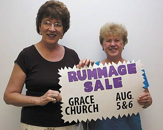 "Annual rummage sale: Grace United Methodist Church, 1725 Drexel Ave. NW, Warren, will have its annual rummage sale Aug. 5 and 6 from 9 a.m. to 4 p.m. each day. There will be a ""buck a bag"" sale from 2 to 4 p.m. Saturday. Sloppy joes, pop and coffee will be available to purchase in addition to the variety of items at the rummage sale. Also, the Grace Chancel Choir will have a bake sale. Proceeds from the rummage and bake sales will support the food pantry. Co-chairwomen of the rummage sale are Bonnie Mallory, left, and Shirley Frazier."