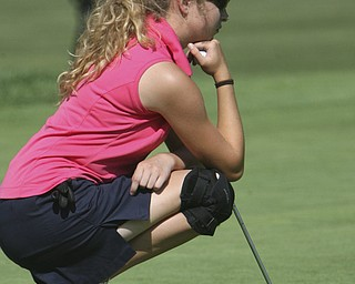 ROBERT  K.  YOSAY  | THE VINDICATOR --..Waiting for  her turn to put is Annie McGlone of Canfield.. -- The Vindicator Greatest Jr. Golfer of the Valley -at Trumbull Country Club in Warren -.--30-..(AP Photo/The Vindicator, Robert K. Yosay)
