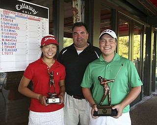 ROBERT  K.  YOSAY  | THE VINDICATOR --..Todd Franko - with Boys and Girls winners are James LaPolla and Jacinta  Pikunas with their trophys. -- The Vindicator Greatest Jr. Golfer of the Valley -at Trumbull Country Club in Warren -.--30-..(AP Photo/The Vindicator, Robert K. Yosay)