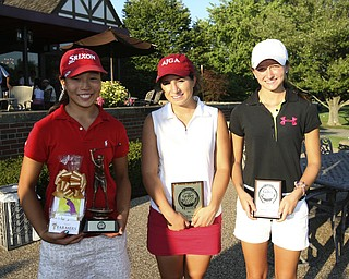 ROBERT  K.  YOSAY  | THE VINDICATOR --..First Place winner  Jacinta  Pikunas )red)   Marie Mancini ( white) and Kelsey Teaberry third ( Black_). -- The Vindicator Greatest Jr. Golfer of the Valley -at Trumbull Country Club in Warren -.--30-..(AP Photo/The Vindicator, Robert K. Yosay)