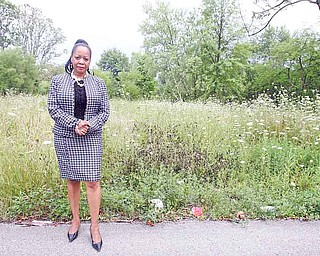Councilwoman Cheryl Saff old, who represents Warren's 6th Ward, shows property at Highland Avenue and Oak Street Southwest that needs attention.