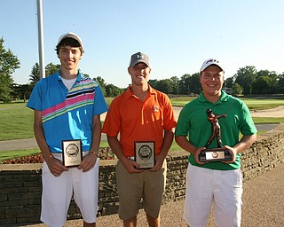 ROBERT  K.  YOSAY  | THE VINDICATOR --...Third Place winner  Brandon Pluchinsky  (blue)  Second Place is Shane Eichenlaub and James Lapolla (green) First-- The Vindicator Greatest Jr. Golfer of the Valley -at Trumbull Country Club in Warren -.--30-..(AP Photo/The Vindicator, Robert K. Yosay)