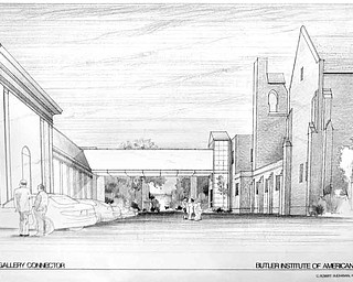 The architect's rendering shows a proposed bridge that will connect the Butler museum to the Butler North building.