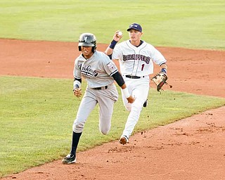 SCRAPPERS - (1) Tony Wolters tries to run down Mason Williams Thursday night in Niles. - Special to The Vindicator/Nick Mays