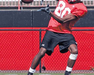 Youngstown State wide receiver Andrew Williams (80) catches some passes during a practice session Tuesday at Stambaugh Stadium. He is among three players from South Carolina who signed with the Penguins as a result of coach Eric Wolford's hustle and the connections he made while serving as an assistant, including a stint as a line coach at South Carolina in 2009.
