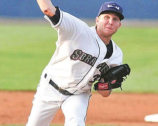 Scrappers starting pitcher #33 William Roberts makes a pitch to a Brooklyn Cyclone.
