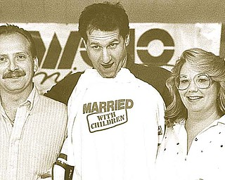 """Thom and Jill Skovira of Struthers won a 'Spend a Day with Al Bundy"""" contest at North Side Lanes. Ed O'Neill, center, joined the party to promote his new show, """"Married with Children,"""" in 1988."""