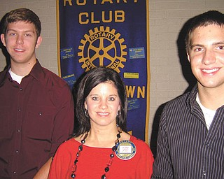 Scholarship recipients: Austintown Fitch High School seniors Alex Sofranko, left, and Jason Miller, right, received scholarships from Rotary Club of Austintown at the club's Aug. 8 meeting. Both students were involved in Rotary's Interact Club at the school. Alex plans to study chemistry at Ohio State University, and Jason is planning to be a registered nurse and will attend Youngstown State University in the fall.