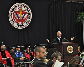 Atty. Paul G. Perantinides delivers the commencement speech to the recent  2011 YSU Summer commencement graduates...Photo By:  Lindsay Y McCall   The Vindicator