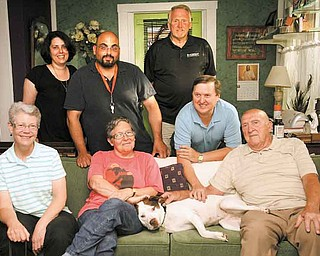 Billie Jean's best friends, from left standing, are Gretchen Brown, Moris Jadue, Blackwood Pet Food representative Mike McGarry and owner Tim Wagner; and seated from left, Tara McKibben, Tess Tessier and Bert Wagner.