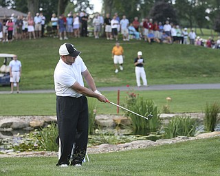 JESSICA M. KANALAS | THE VINDICATOR..Josh Zarlenga of Youngstown Country Club completes the ninth hole a second time after a tie during the final day at the Greatest Golfer of the Valley tournament at The Lake Club.