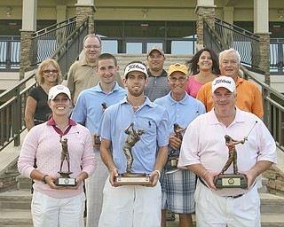 JESSICA M. KANALAS | THE VINDICATOR..Winners in the Greatest Golfer of the Valley are, front from left, Katie Rogner, Anthony Conn and Mike Watson, and second row, from left, Bill Stanton, Ed Antonelli and Tom Walker. In the back row, from left, are Bonnie Mollica; John Gulas, president of Farmers National Bank; Pete Mollica Jr.; and Mary (Mollica) Beidelschies. The Mollica family attended in memory of Pete Mollica, longtime Vindicator sports writer, for whom the Open Division of the tournament was renamed this year.