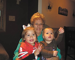 Two-year-olds Leah Hudak, daughter of Joe and Jen Hudak, and Aubree Philibin,daughter of Ryan and Danielle Philibin, are spending time with their great grandmother, Phyllis Bellino, on her 89th birthday.