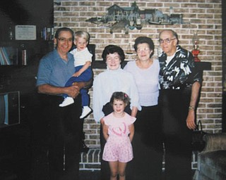 Kenny and Angie Ferenchak are pictured with their grandparents, Joe and Valeria Demidovich, on the left, and Clara and Steve Ferenchak, on the right. All are from the Youngstown area.