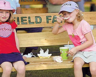 Maureen Baker, 7, left, and her sister Mary, 5, of Canfield share some shade and ice cream in an effort to keep cool Friday during the third day of the 165th Canfield Fair. Temperatures were expected to rise above 90 degrees today with high humidity.