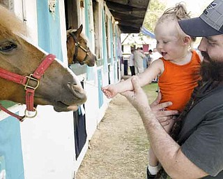 Joe Mayhugh of Beaver Falls, Pa., helps his 14-month-old daughter, Kailyn, make a new friend Saturday at the 165th Canfield Fair.