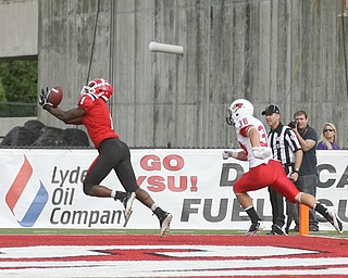 JESSICA M. KANALAS | THE VINDICATOR..Youngstown's quarterback Kurt Hess completes a 20 yard pass to wide receiver Andre Barboza for a touchdown with only seconds left of the second quarter against Illinois State...-30