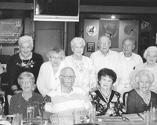 """'Greatest Generation' grads mark reunion: These 13 members of the Austintown Fitch High School Class of 1944 attended their 67th reunion. From left, seated, are Betty Wehr Nobile, Elaine Barber Zedek, Ray McClain, Hope Gettman Fairbanks, Olga Jakubec Pabst and Howard Hann; standing, Jack Siersdorfer, Mary Louise Adams Bickerstaff, Leatha Baker Brobst, Marjorie Brown Gessner, Chester Clarke, Jim Albertar and Dorothy """"Dot"""" Fee Bishop. The classmates were first-graders in 1932 when Franklin D. Roosevelt was in office. Nineteen boys left their junior and senior years to join the Armed Forces during World War II, and two were lost in the war: Richard Howley and Jack Moan. Chairwoman of this year's reunion was Gessner, secretary was Eileen Schulz, who was unable to attend. Special guests were Austintown Schools Superintendent Vince Colaluca and director of instruction, Dan Bokesch. The 68th reunion is being planned for Aug. 22, 2012. Time and place will be announced at a later date."""