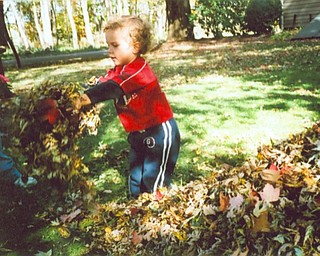 Benjamin Herrholtz of Howland, 3, enjoys the leaves at the home of his great-grandparents, Alfred and Helen Deane of Hubbard Township. Photo submitted by Helen Deane.