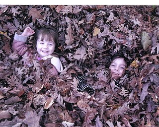 Rory Geissler, 4, and Becca Geissler, 7, play in the leaves in Annapolis, MD. Photo submitted by Nancy Fawcett of Canfield.