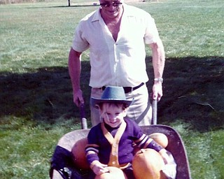 It was 1976 when Jimmie McFadden of Niles got a wheelbarrow pumpkin ride with his grandpa, Jack Fynes, also of Niles. Photo submitted by Sandi Fynes-McFadden, Jimmie's mom and Jack's daughter.