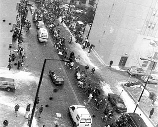 Birdseye view of YSU parade from the Ohio One Building..01/17/91 - Doug Oster
