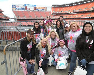 Courtney Gobel, LesleyAnne Roddy, Miranda James, Jessica Sarich, Natalie Hrushka, Emily Hudak, Carrie Brown, Jill Grove, Audrey Davidson, Marla Dull, Tara Freeze, and Marissa Cullen all traveled to Cleveland this past Sunday to help raise Breast Cancer Awareness at the Browns game by handing out over 7,000 Pink Ribbons as fans entered the game