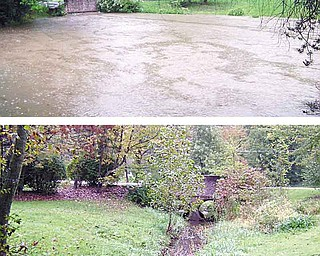 Normally the portion of Sawmill Creek that runs through Steve and Sarah Easton's property flows smoothly (bottom), but when it rains heavily, the banks of the creek expand (top) and floodsthe lower level of their home on Glenview Avenue.