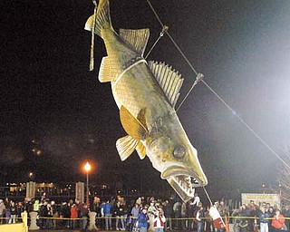 In this Jan. 1, 2011 photo,  Wylie, a 20-foot long, 600-pound fiberglass walleye, touches down at midnight to welcome 2011 in Port Clinton, Ohio. Wylie is undergoing a $4,000 restoration. (AP Photo/Jonathon Bird, News Herald)