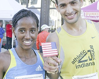 William D. Lewis|The Vindicator Peace Race 1rst place winners Mumis Ekoba and Aziz Atmani at end of race.