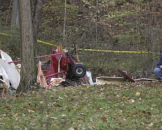 ROBERT K. YOSAY | THE VINDICATOR || Pilot Ronald Catchpole, 54, of King Graves Road, Vienna, was seriously injured when his experimental  1990 Pieton Pole Air Camper crashed on Mount Pleasant Road around 5 p.m. Saturday.