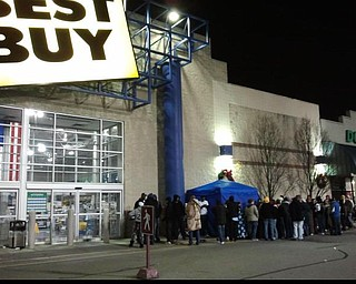 A line is already wrapped around the Best Buy building in Boardman.