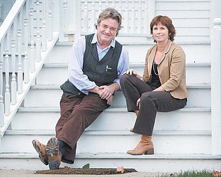 "Artist Jamie Wyeth and writer Barbara Walsh pose in Rockland, Maine. The pair collaborated on the new children's book, ""Sammy in the Sky,"" a story about how one family coped with the death of a beloved family pet."