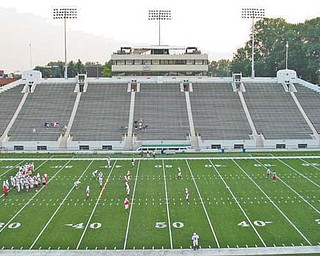 Canton's Fawcett Stadium, the facility's south side seen above, has been a winning venue for Cardinal Mooney, which has played there four times this season: three regular games and one playoff . On Friday, the Cardinals will take their places for the fifth time and as the home team when they face Springfield Shawnee in the Division III state final.
