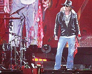 Lead singer of Guns N' Roses, Axl Rose performed at the Covelli Centre in Youngstown on Wednesday.