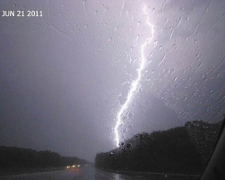 Shelly Toth of Austintown grabbed this shot during a electrical storm on June 21, 2011, while traveling on Route 480 in Cleveland.
