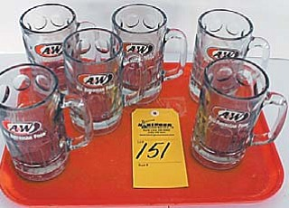 Memorabilia and other items from the Boardman A&W restaurant, such as these root beer mugs, will be auctioned today by Basinger Auctions. The Boardman restaurant closed Dec. 31, after nearly 40 years in business.