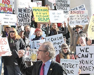 State Rep. Robert Hagan of Youngstown, D-60th, was at Tuesday's protest at the Ohio Statehouse, where he urged his fellow lawmakers to institute a moratorium on horizontal hydraulic fracturing and on the disposal of drilling waste fluids in injection wells.