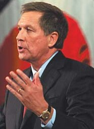 Ohio Gov. John Kasich delivers his State of the State address at Wells Academy in Steubenville on Tuesday.