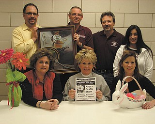 The Boardman High School Gridiron Club is planning an arts and craft show on March 31 at the school. Committee members for the event are, left to right, seated, Darlene Morris, chairwoman; Diana Alvino, historian; and Margee Ebie, secretary. Standing are Len Morris, treasurer; Dave Davis, president; Ken Platt, vice-president; and Jeanne Dana, membership.