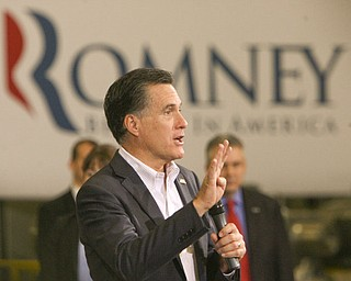 ROBERT K. YOSAY|THE VINDICATOR..Mitt Romney, one of the front-runners for the Republican presidential bid, was the first of the GOP candidates to campaign in the Mahoning Valley. @ Taylor Winfield plant on Salt Springs Rd... ...-30-