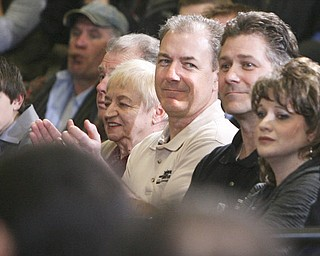 ROBERT K. YOSAY|THE VINDICATOR..Brian and Alex Benyo of Brilex and  Taylor Winfield Mitt Romney, one of the front-runners for the Republican presidential bid, was the first of the GOP candidates to campaign in the Mahoning Valley. @ Taylor Winfield plant on Salt Springs Rd... ...-30-