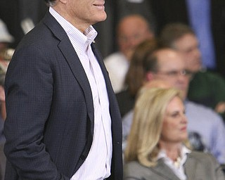 ROBERT K. YOSAY|THE VINDICATOR..Mitt  more casual as he  is asked a question on the military - Mitt Romney, one of the front-runners for the Republican presidential bid, was the first of the GOP candidates to campaign in the Mahoning Valley. @ Taylor Winfield plant on Salt Springs Rd... ...-30-