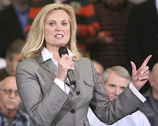 ROBERT K. YOSAY|THE VINDICATOR..Ann Romney  -  wife of Mitt.. tells a bit about her husband and introduced Mitt.Mitt Romney, one of the front-runners for the Republican presidential bid, was the first of the GOP candidates to campaign in the Mahoning Valley. @ Taylor Winfield plant on Salt Springs Rd... ...-30-