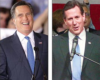 Republican presidential candidates Mitt Romney, left, and Rick Santorum address supporters during Super Tuesday campaign rallies.