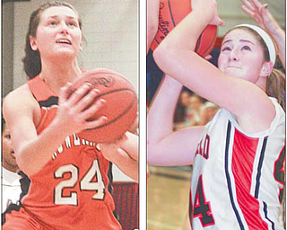 Howland's Taylor Williams (24) and Canfield's Sabrina Mangapora earned All-Ohio basketball honors on Monday. Mangapora was named to the first team in Division II, and Williams was selected to the second team in Division I. Nine area players received honors.